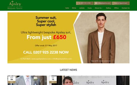 Screenshot of Home Page apsleytailors.com - Apsley Tailors - captured May 30, 2017