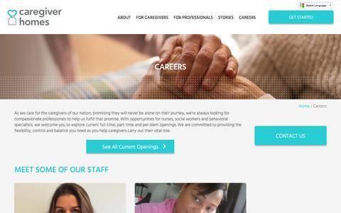 Screenshot of Jobs Page caregiverhomes.com - Caregiver Jobs & Careers   Caregiver Homes - captured July 3, 2016