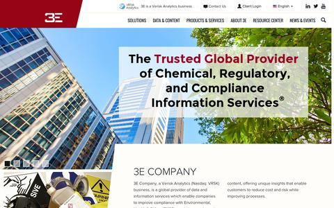 Screenshot of Home Page 3ecompany.com - SDS and EHS Compliance Data Management Solutions – 3E Company - captured July 16, 2015