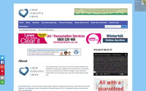 Screenshot of About Page careindustrynews.co.uk - About Care Industry News-Information & news for UK independent care providers in adult care   Care Industry News - captured Jan. 25, 2016