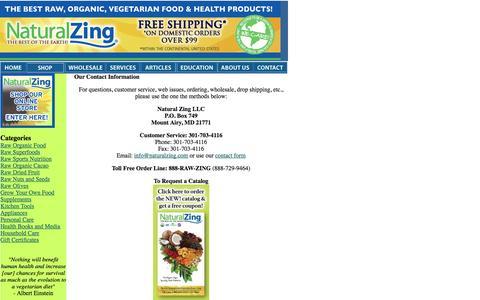 Screenshot of Contact Page naturalzing.com - Natural Zing - Premium Quality Raw, Organic, Vegan Food Specialty Distributor - captured Sept. 23, 2014