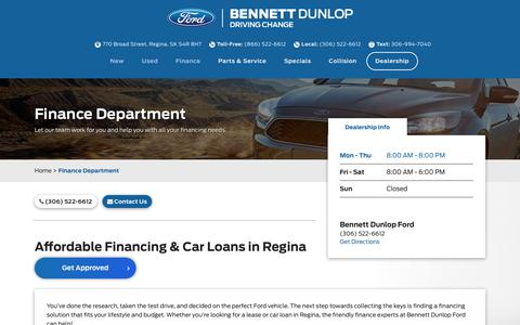 Financing & Car Loans in Regina | Bennett Dunlop Ford