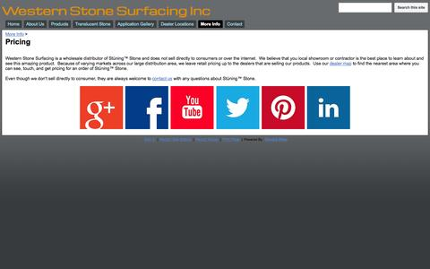 Screenshot of Pricing Page westernstonesurfacing.com - Pricing - Western Stone Surfacing Inc - captured Oct. 7, 2014