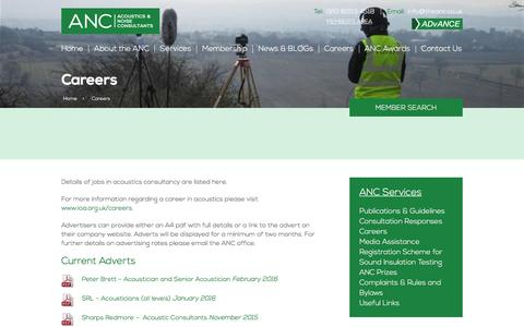 Screenshot of Jobs Page association-of-noise-consultants.co.uk - Careers | The Association of Noise Consultants - captured Feb. 6, 2016