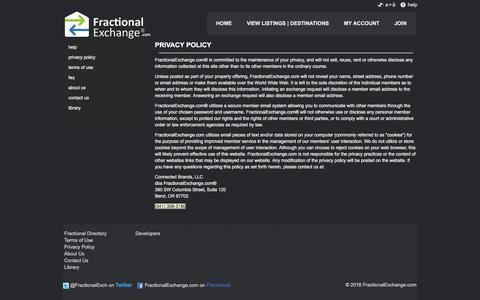 Screenshot of Privacy Page fractionalexchange.com - FractionalExchange.com - Fractional Exchange - Exchange Keys. Trade Dreams - captured Sept. 24, 2018
