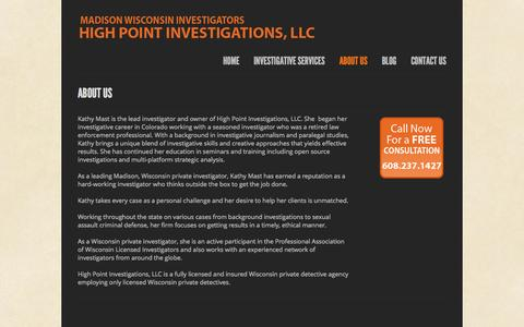 Screenshot of About Page madisoninvestigators.com - Madison Private Investigators, Waunakee Private Detectives, WI, High Point Investigations, LLC  | Highpoint Investigations, LLC - captured Oct. 3, 2014