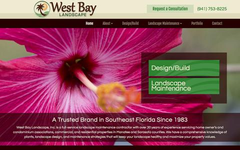 Screenshot of Home Page wblcompany.com - Commercial Landscape Management | West Bay Landscape, Inc | Bradenton FL - captured Feb. 14, 2016