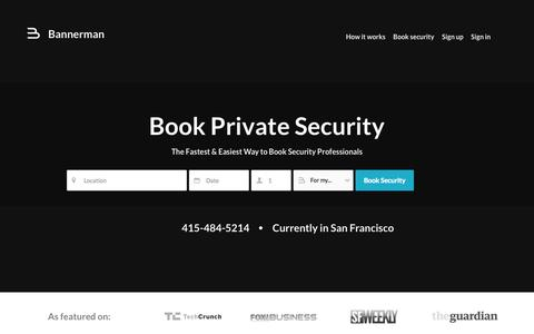 Screenshot of Home Page getbannerman.com - Private Security, Office & Event Security - Bannerman - captured Oct. 5, 2014