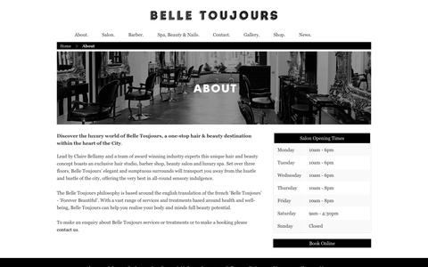 Screenshot of About Page belletoujours.co.uk - Belle Toujours - boutique, hair and beauty destination - captured Oct. 5, 2014