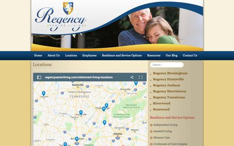 Screenshot of Locations Page regencyseniorliving.com - Retirement Living Chattanooga, TN - captured Oct. 20, 2018