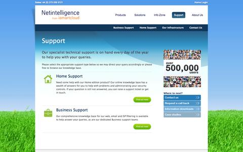 Screenshot of Support Page netintelligence.com - Netintelligence | Support for Business and Home Users - captured Oct. 26, 2014