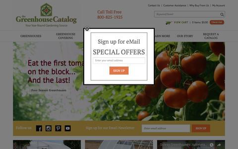 Screenshot of Home Page greenhousecatalog.com - Greenhouse Kits and Greenhouse and Garden Supplies - captured July 2, 2018