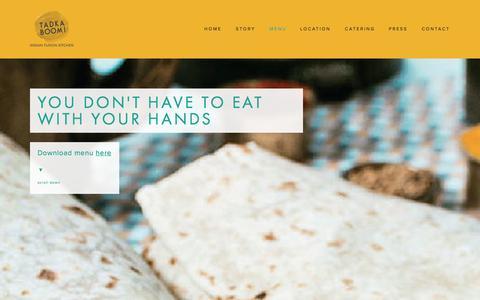 Screenshot of Menu Page tadkaboom.com.au - Menu — Tadka Boom! Indian Fusion Kitchen - captured Oct. 9, 2014