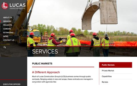 Screenshot of Services Page lucascg.com - Public Market Projects | Lucas Construction Group, IncLUCAS CONSTRUCTION GROUP - captured Sept. 11, 2017