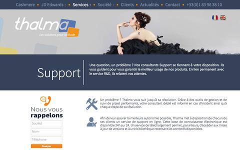 Screenshot of Support Page thalma.fr - Support - Thalma Éditeur de logiciels, conseil et service pour professionnels de la Mode. - captured Nov. 9, 2017