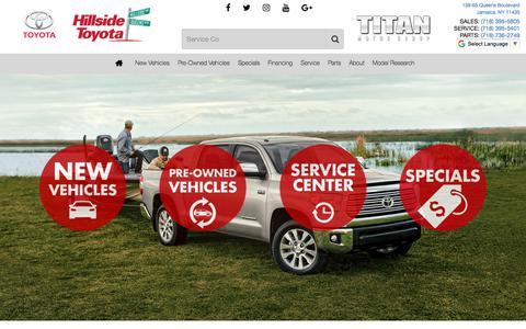 Screenshot of Home Page hillsidetoyota.nyc - Hillside Toyota | Toyota Dealership | Serving Jamaica, NY - captured July 18, 2018
