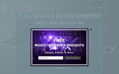 Screenshot of Services Page sleeplessmindentertainment.com - Sleepless Mid Entertainment Services - captured Oct. 19, 2018