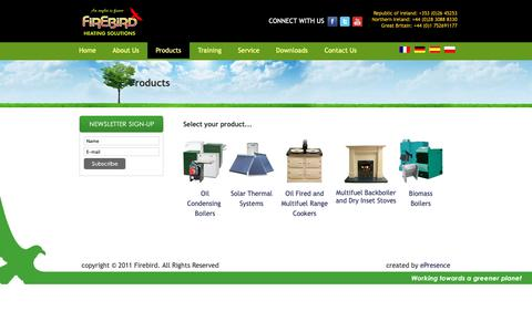 Screenshot of Products Page firebird.ie - Products - captured Oct. 10, 2018