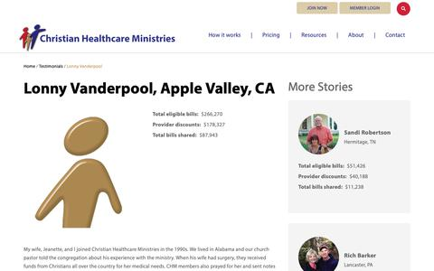 Screenshot of Testimonials Page chministries.org - Apple Valley, CA              | Christian Healthcare Ministries - captured May 16, 2019