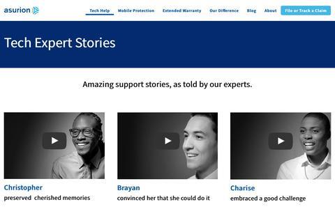 Screenshot of Testimonials Page asurion.com - Meet Our Tech Experts - Asurion Tech Help - captured April 25, 2019