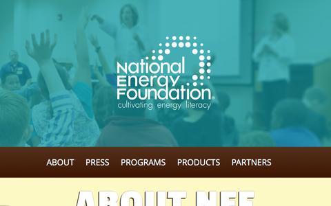Screenshot of Home Page nef1.org - Home - National Energy Foundation - captured Sept. 5, 2015