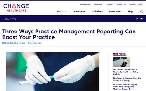 Screenshot of Team Page changehealthcare.com - Practice Management Reporting Can Boost Revenue | Change Healthcare - captured Feb. 20, 2020