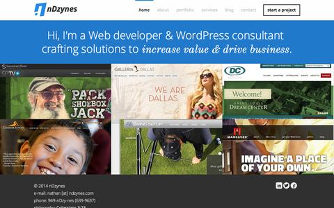 Screenshot of Home Page ndzynes.com - WordPress Developer and Consultant | nDzynes - captured Jan. 27, 2015