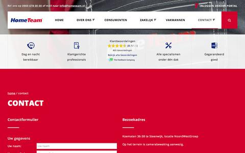 Screenshot of Contact Page hometeam.nl - Contact - captured Aug. 25, 2017