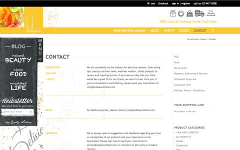 Screenshot of Contact Page lukbeautifood.com - Contact | lük beautifood - captured Oct. 3, 2014