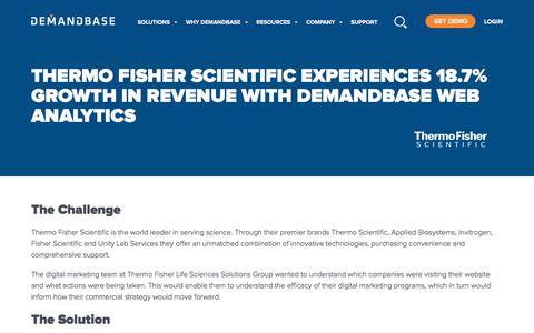 Screenshot of Case Studies Page demandbase.com - Thermo Fisher Scientific Experiences Revenue Growth with Demandbase Web Analytics | Account-Based Marketing – Demandbase - captured Nov. 6, 2019