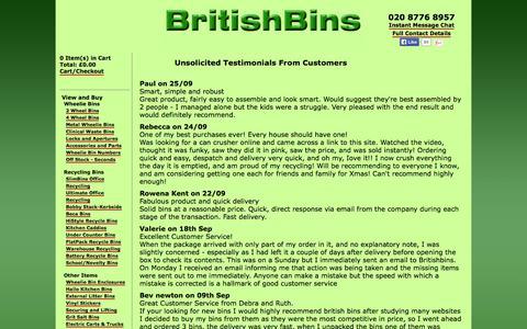 Screenshot of Testimonials Page britishbins.co.uk - BritishBins Testimonials - captured Sept. 30, 2014