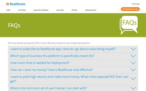 Screenshot of FAQ Page vwbeatroute.com - FAQs on how BeatRoute can help with your Field Force Automation | BeatRoute - captured Oct. 5, 2018