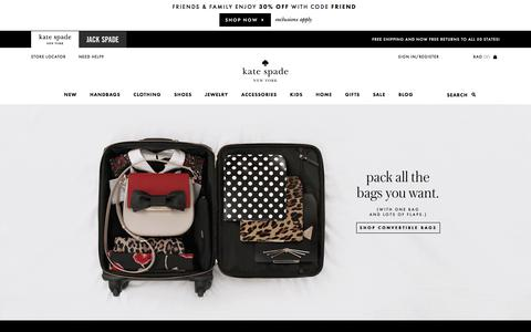 Screenshot of Home Page katespade.com - Kate Spade New York – Handbags, Clothing, Jewelry and All Your New Favorites! - captured Oct. 13, 2017