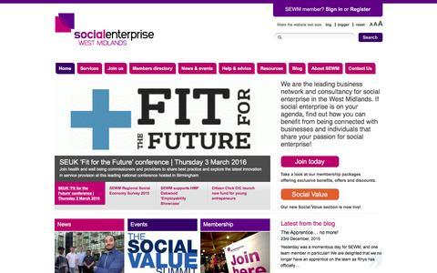 Screenshot of Home Page socialenterprisewm.org.uk - Social Enterprise West Midlands – improve, understand and support social enterprises. - captured Feb. 17, 2016