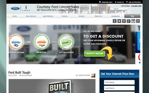 Screenshot of Blog courtesyfordlincoln.com - Courtesy Ford Lincoln Dealers | Used Car Dealerships London Ontario - captured Oct. 3, 2014