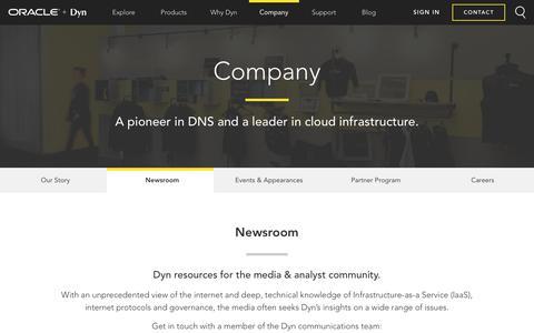 Screenshot of Press Page dyn.com - Newsroom - Dyn - captured July 20, 2017