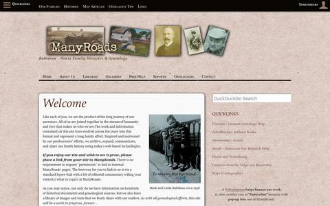 Screenshot of Home Page many-roads.com - ManyRoads – Rabideau – Henss Family Histories & Genealogy - captured July 27, 2018