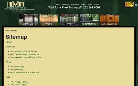 Screenshot of Site Map Page metropolitanfence.com - Sitemap - Metropolitan Fence - captured Sept. 20, 2018