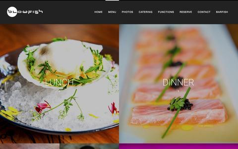 Screenshot of Menu Page blowfishrestaurant.com - Menu - Blowfish - captured March 8, 2016