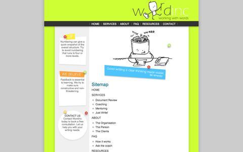 Screenshot of Site Map Page wordinc.com.au - How to find your way around the Wordinc website. - captured Oct. 26, 2014