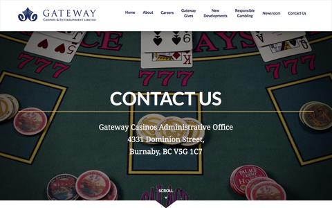 Screenshot of Contact Page gatewaycasinos.com - Contact Us | Gateway Casinos and Entertainment Limited - captured Oct. 27, 2016