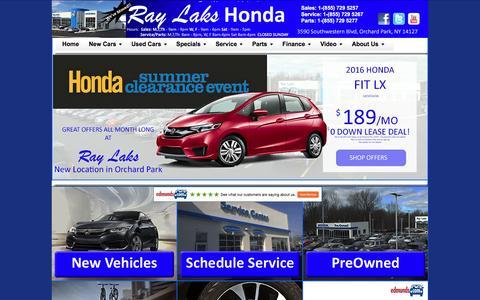 Screenshot of Home Page raylakshonda.com - Ray Laks Honda - Buffalo, NY Honda Dealer - Civic, CRV, Accords - captured Aug. 12, 2016