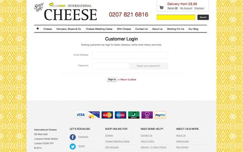 Screenshot of Login Page internationalcheese.co.uk - Account at International Cheese   Page 1 - captured Sept. 30, 2014