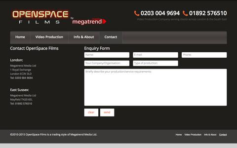 Screenshot of Contact Page openspacefilms.tv - Contact  |  Video Production Company – Sussex & South East England | OpenSpaceFilms.tv - captured Feb. 26, 2016