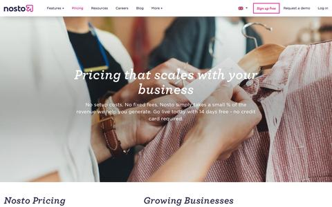 Screenshot of Pricing Page nosto.com - Pricing that scales with your business - Nosto - captured May 8, 2017