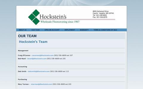 Screenshot of Team Page dhockstein.com - OUR TEAM - captured Nov. 10, 2016
