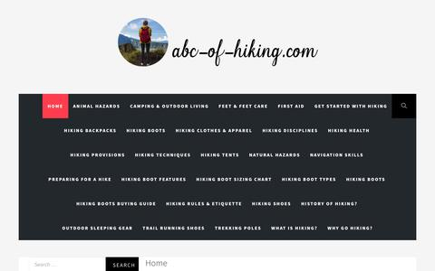 Screenshot of Home Page abc-of-hiking.com - Hiking, Trekking, Camping & Outdoor Survival @ ABC-of-Hiking.com - captured Nov. 14, 2018