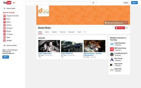 Screenshot of YouTube Page youtube.com - Daniel Brian  - YouTube - captured Oct. 27, 2014