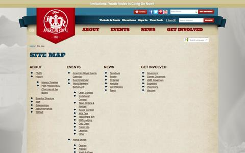 Screenshot of Site Map Page americanroyal.com - Site Map - captured Sept. 23, 2014
