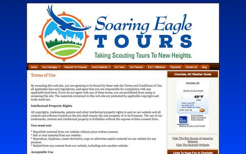 Screenshot of Terms Page soaringeagletours.com - Terms of Use - Soaring Eagle Tours - captured Oct. 26, 2014